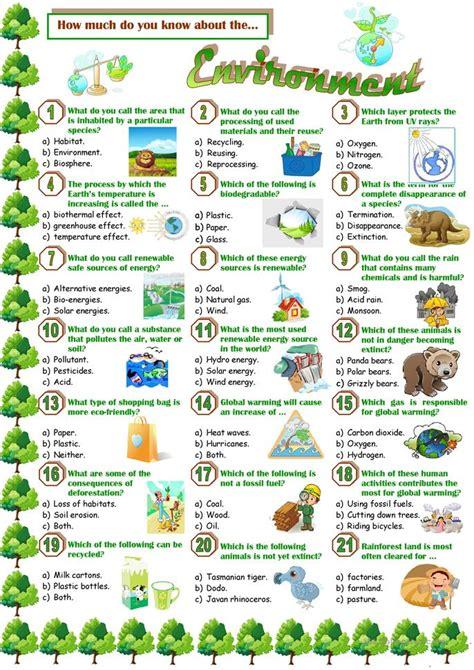 environment quiz worksheet  esl printable worksheets