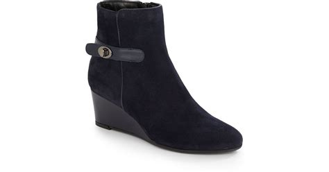 Aquatalia Julianna Suede Wedge Ankle Boots In Blue
