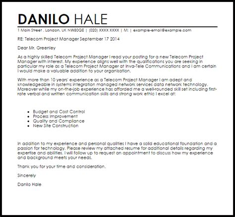 telecom project manager cover letter sample livecareer