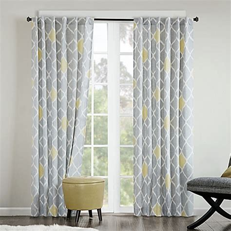 buy ink nile 84 inch rod pocket back tab window curtain panel in grey yellow from bed bath