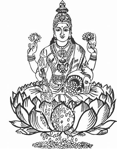 Lakshmi Clipart Coloring Goddess Pages Shri Sketch