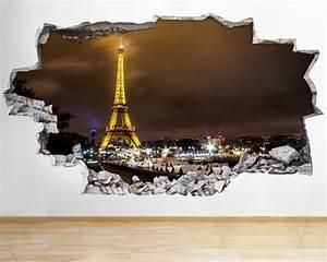 Paris Night Eiffel Tower Wall Vinyl Poster Room Wall Decal ...