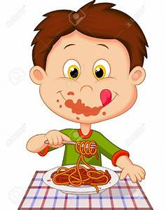 Spaghetti clipart boy eating - Pencil and in color ...