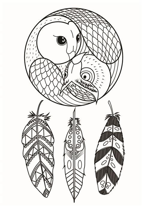 owl dreamcatcher dreamcatchers adult coloring pages