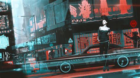 artwork fantasy art cyberpunk women china town kuldar