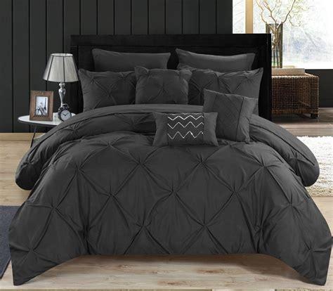 luxury comforter set black queen bed   bag  piece