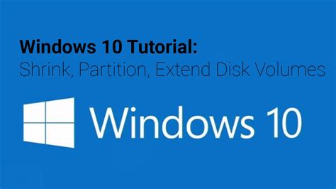 windows 10 tutorial shrink partition extend disk