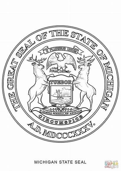 Michigan State Symbols Coloring