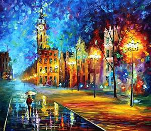 "OLD TOWN 4 PALETTE KNIFE Oil Painting On Canvas By Leonid Afremov Size 30""x36"""