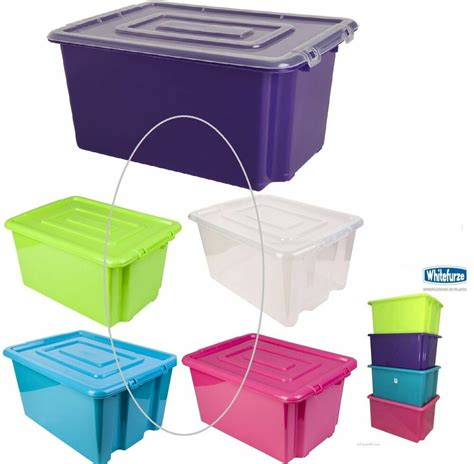 plastic storage tub plastic storage box boxes stackable tub with lid handles