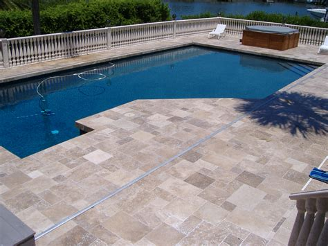 Walnut Travertine Pool Deck