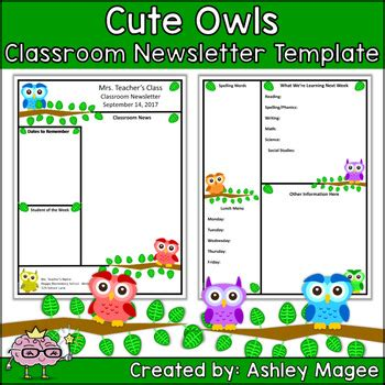 Free Templates For Teachers by Newsletter Template Primary Owls Theme By Mrs