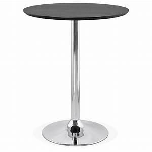 Table Haute Bois Metal : table haute mange debout design laura en bois pieds m tal chrom 90 cm noir ~ Teatrodelosmanantiales.com Idées de Décoration