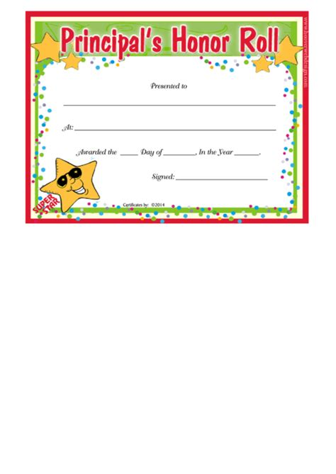 principals honor roll certificate template printable