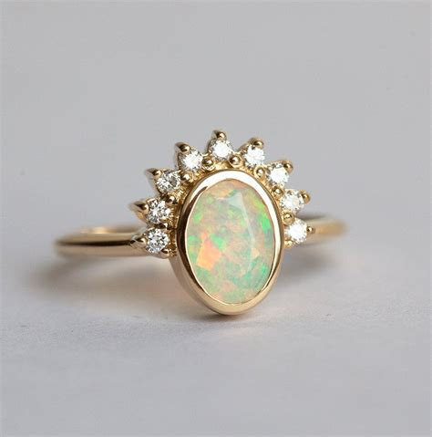 Opel Rings by Australian Opal Ring Gold Opal Ring Oval