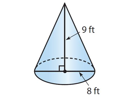 finding the volume of a cone worksheet