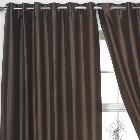 Ring Top Drapery - fully lined eyelet curtains ring top pair faux silk black