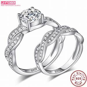 jrose 336ct engagement wedding ring set 925 sterling With sterling silver wedding rings for women