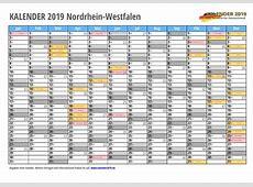 Kalender 2019 NRW Feiertage & Schulferien