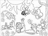 Coloring Insects Pages Children Insect Bug Printable Kindergarten Preschool Print Nature Bees Ants Spring Garden Butterfly sketch template