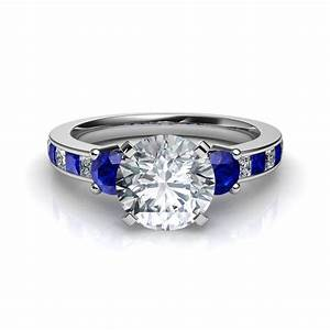 3 stone diamond with blue sapphire engagement ring With wedding ring sapphire