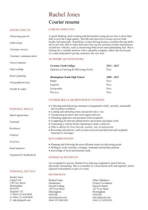 Courier Resume Objective by Delivery Driver Cv Sle Able To Work In Any Weather