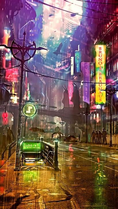 Cyberpunk Neon Street Futuristic 4k Artist Artwork