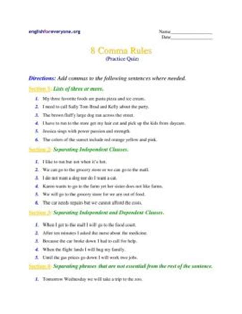 8 Comma Rules  English Worksheets Fliphtml5