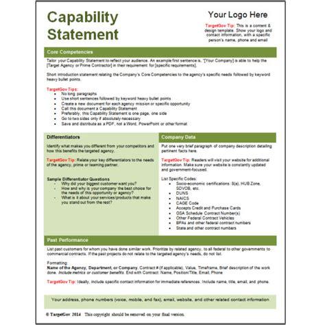 capability statement editable template green targetgov