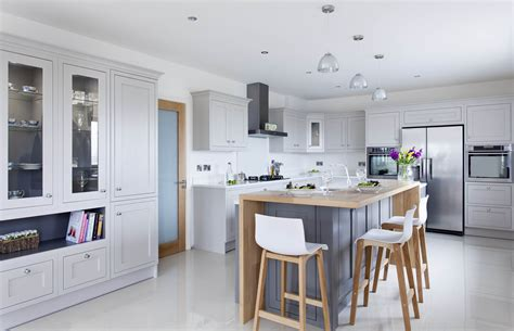 contemporary classic painted kitchen  oak breakfast