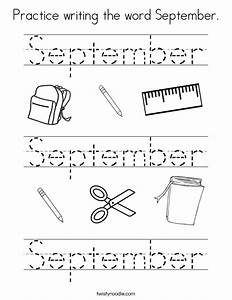 Practice writing the word September Coloring Page - Twisty ...