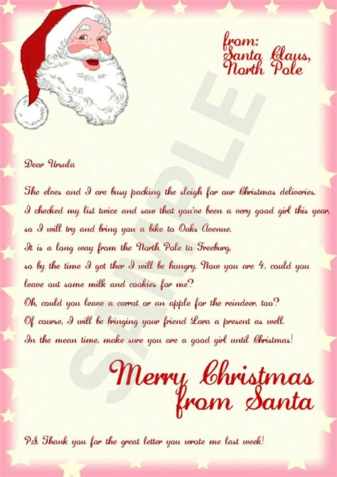 santa letter template free printable thanks for the sle letters from santa letter of recommendation 93265