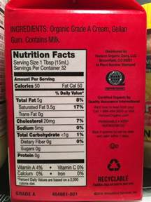 Horizon Heavy Whipping Cream: Calories, Nutrition Analysis & More   Fooducate