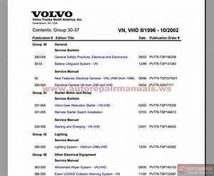 Volvo Vn  Vhd From 08 1996-11 2002 Service Publications