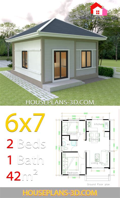 Simple House Plans 6x7 with 2 bedrooms Hip Roof House