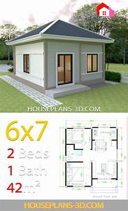 Simple, House, Plans, 6x7, With, 2, Bedrooms, Hip, Roof