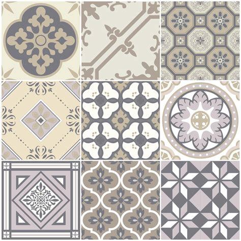 lit complet avec tête de 9 stickers carreaux de ciment chêtre et design