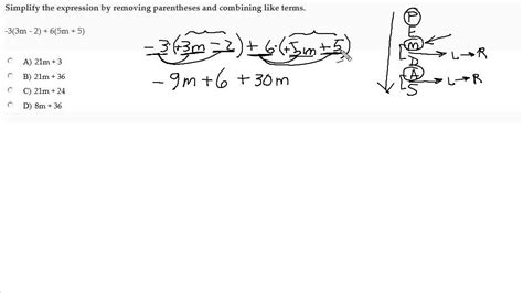 simplify algebraic expression with parentheses by