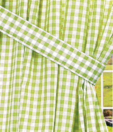 sour apple green gingham check window curtain
