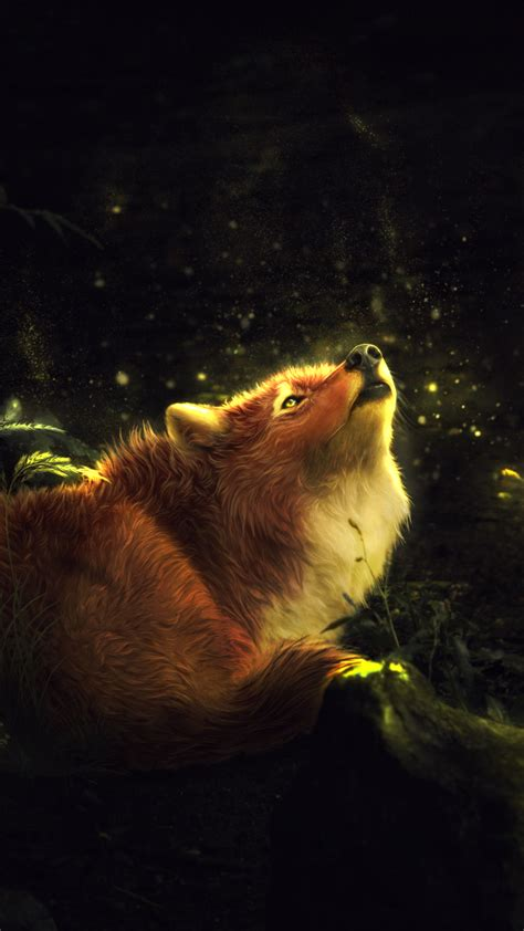 wallpaper fox forest enchanted howling  creative