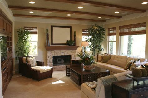 Living Room With Tall Houseplants And Recessed Lighting