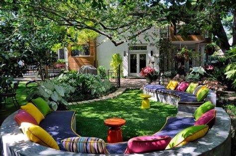 colorful backyard ideas beautiful garden design and backyard lndscaping with colorful sofa