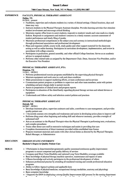 Therapist Resumes by Sle Physical Therapist Assistant Resume Bijeefopijburg Nl