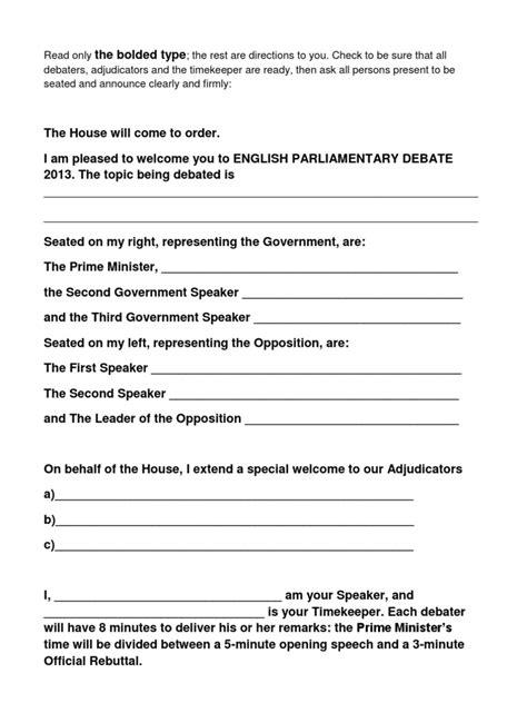 Speaker Debate Template by Parliamentary Debate Speaker S Script Prime Minister