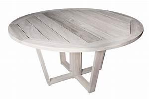 Table En Teck Massif : table ronde en vieux teck massif finition gris d lav d 150 cm ~ Teatrodelosmanantiales.com Idées de Décoration