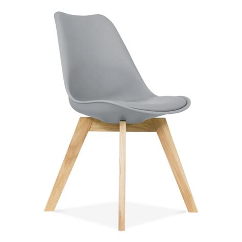 chaise pied tulipe cool grey dining chair with solid oak crossed wood legs