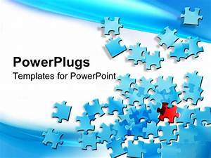 PowerPoint Template: blue jigsaw puzzle pieces spread on ...