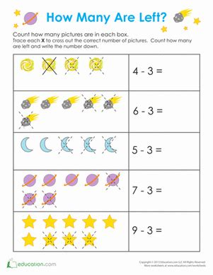 outer space math worksheet education 925 | outer space math subtraction kindergarten