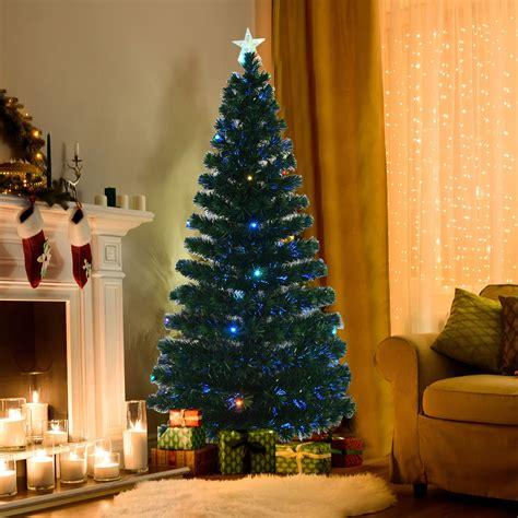 homcom christmas tree control homcom 6ft pre lit led artificial tree scattered d 233 cor with stand green aosom ca