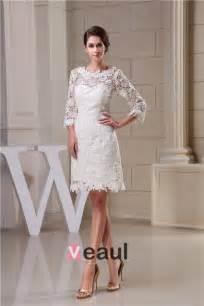 brautkleider kurz creme charmante a linie 3 4 ärmel durchbohrte spitze kurzen hochzeitskleid brautkleid 1505135041